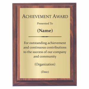 Achievement Award Plaque  Achievement Award Wording