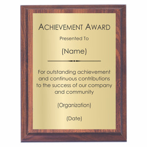 Achievement Award Plaque