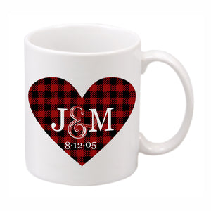 Buffalo Plaid Heart Mug