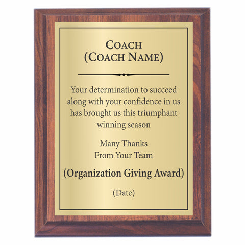 Coach Award Plaque