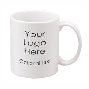 White ceramic mug imprinted with your logo and optional text
