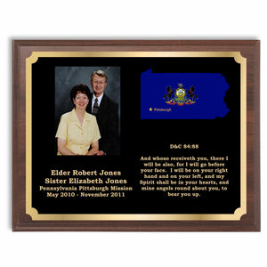 Missionary Plaque with your photo, text and map with flag