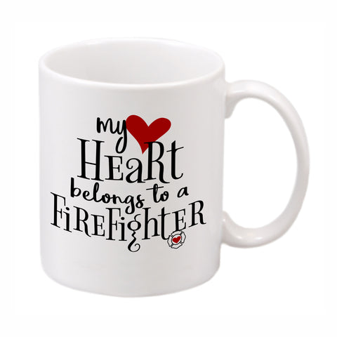 "White ceramic mug imprinted with ""My heart belongs to a {custom word}"""