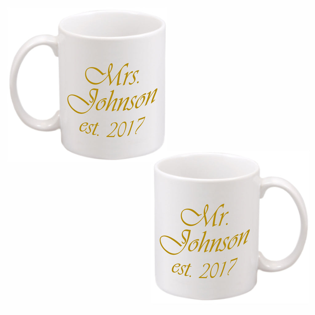 White ceramic mugs imprinted with Mr. Name, Mrs. Name and date