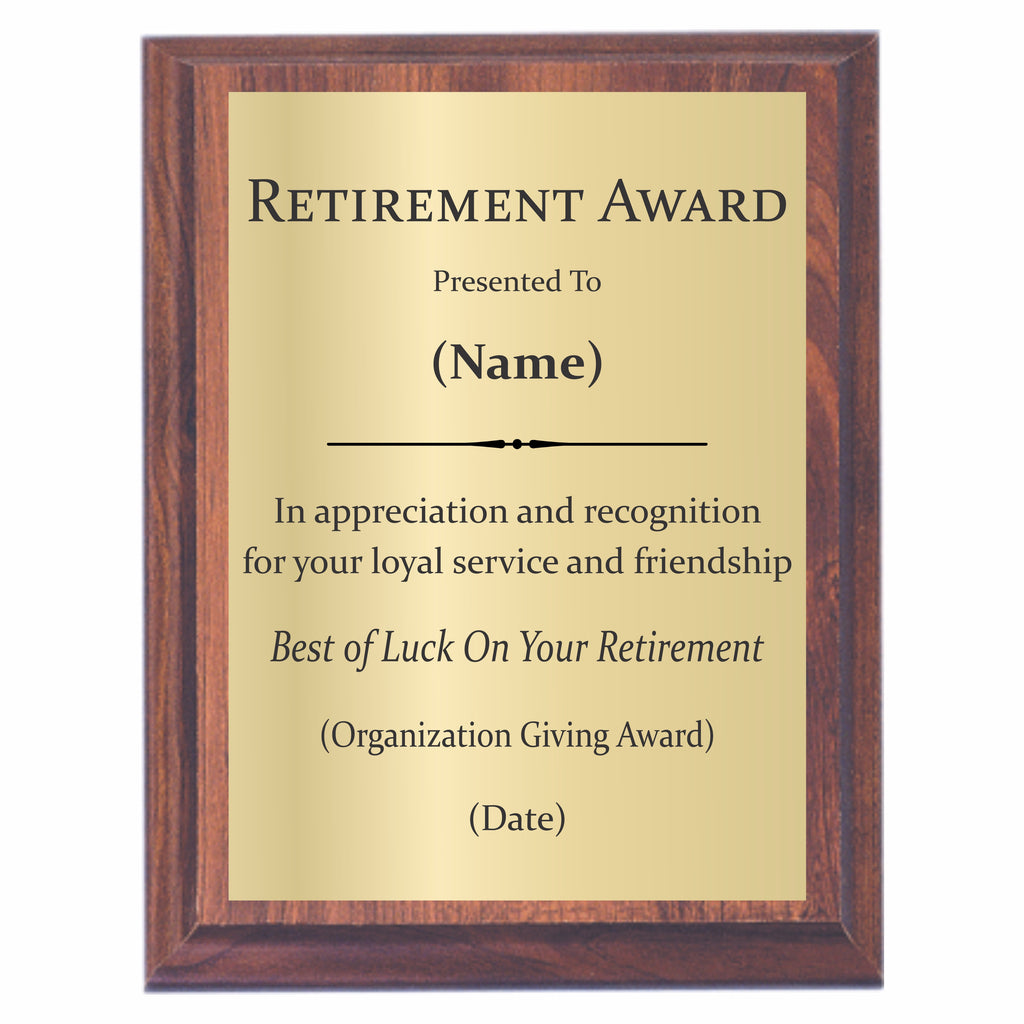 retirement plaques offered by awards2you. Black Bedroom Furniture Sets. Home Design Ideas