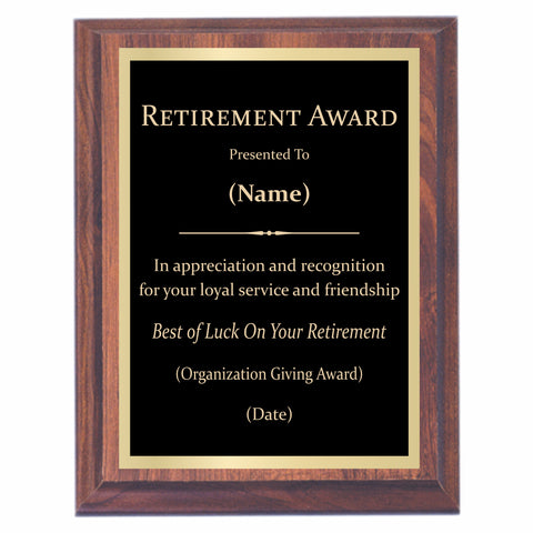 Retirement Premier Award Plaque