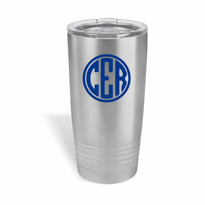 20 ounce Polar Camel tumbler with three letter circle monogram in one color.