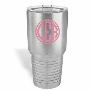 30 ounce Polar Camel tumbler with three letter circle monogram in one color.