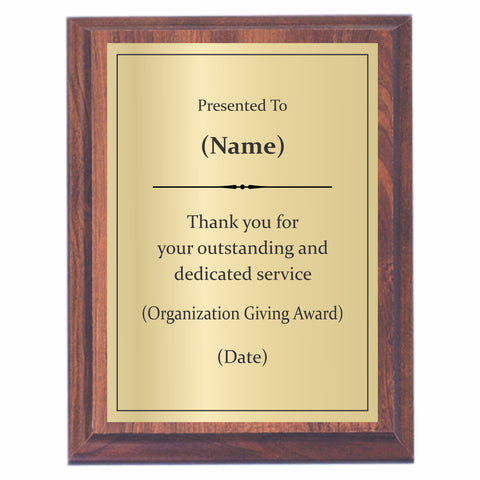 Dedicated Service Award Plaque