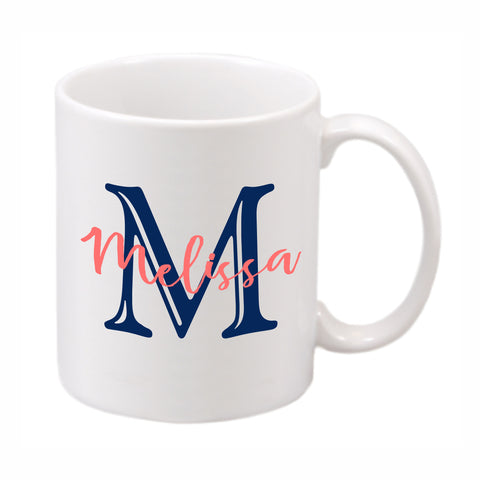 White ceramic mug imprinted with your initial and name