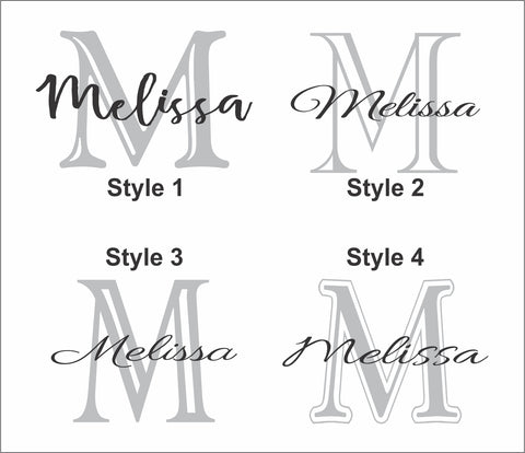 Choose from four styles for your personalized monogram and name.