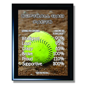 Softball Dad Facts Sign