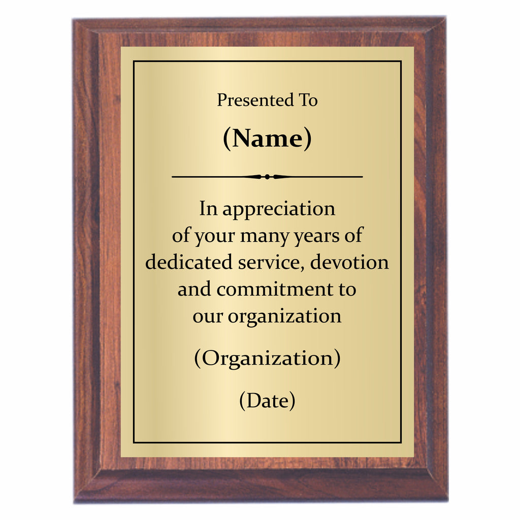 Years Of Service Plaque Custom Engraved Awards2you