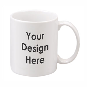 White ceramic mug imprinted with your custom design