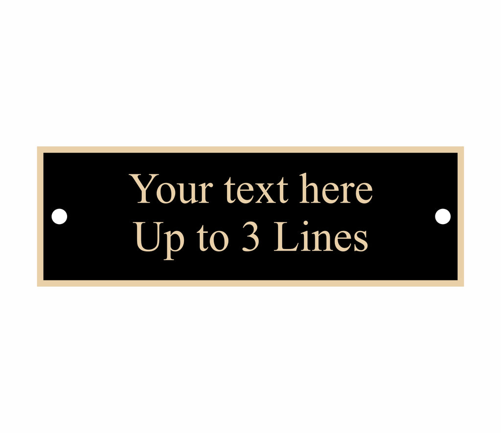 "Black nameplate with gold border, square corners, 2 screw holes, 2.75"" x .875"""