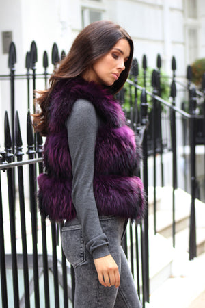 Purple Three Row Raccoon Fur Gilet