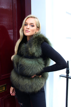 Khaki Three Row Raccoon Fur Gilet
