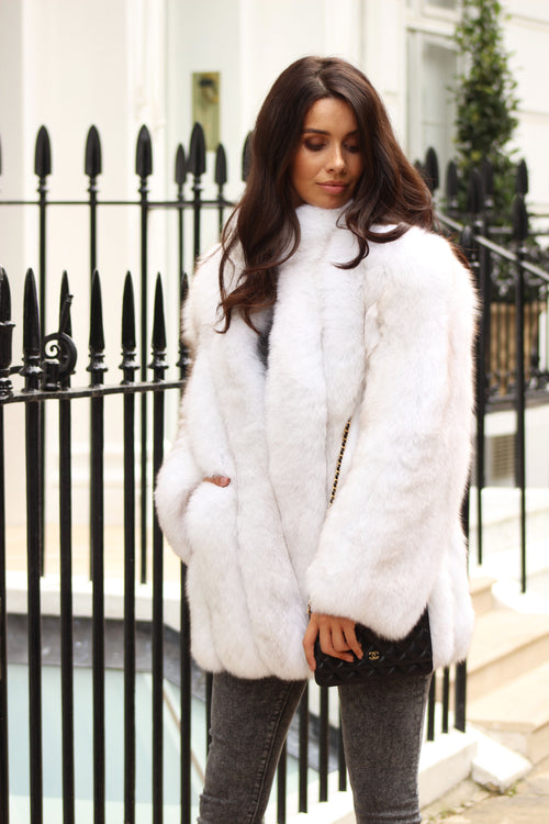 Winter White Collared Full Pelt Fox Fur Coat