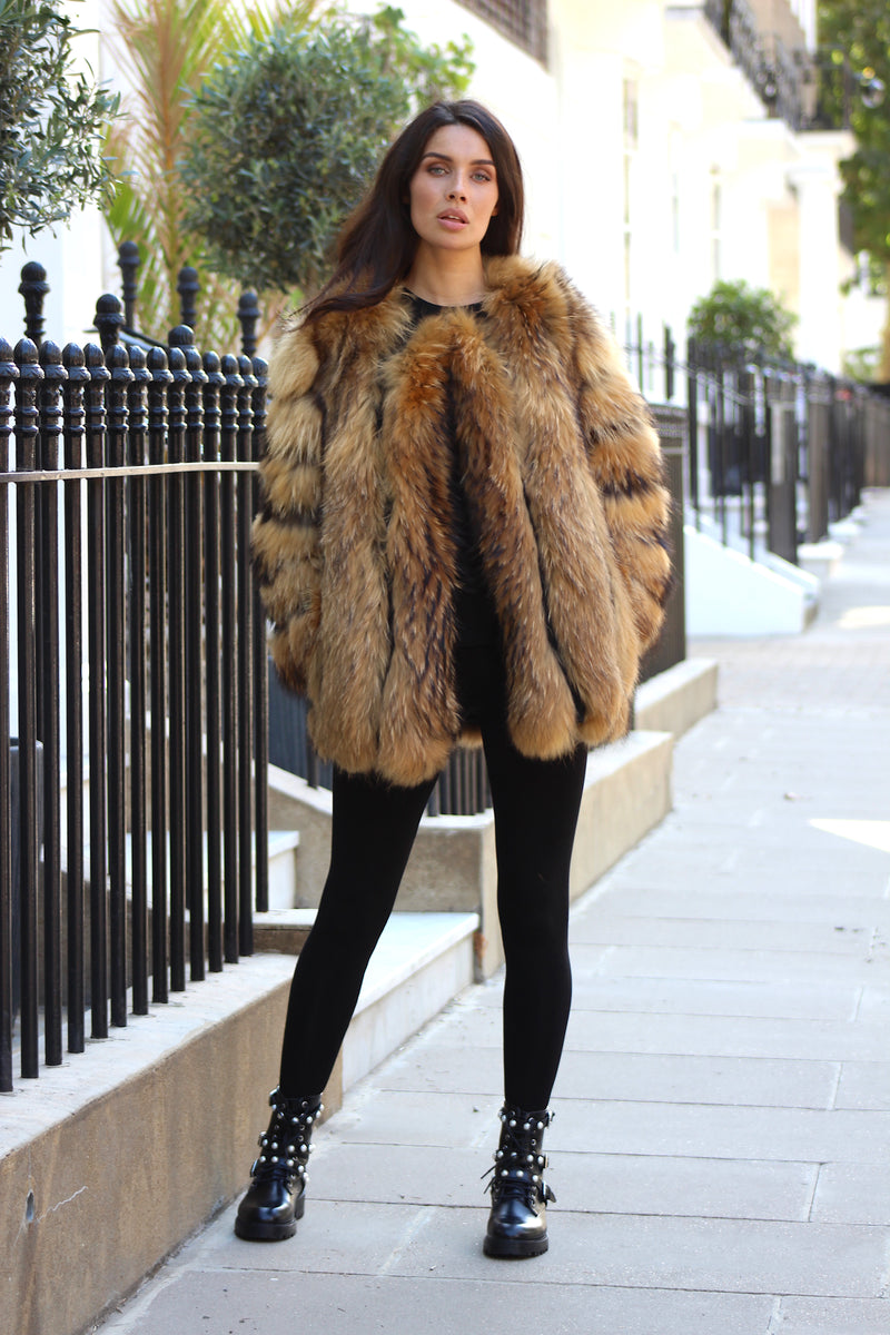 Natural Long Raccoon Fur Coat