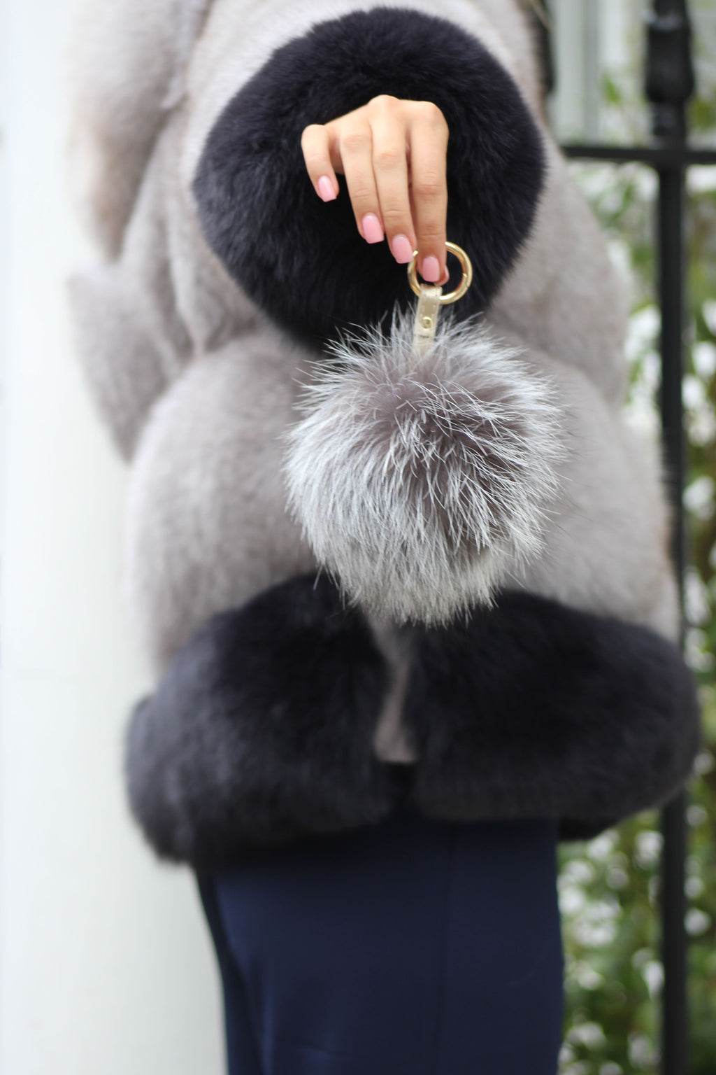 Silver Fox Fur Keyring
