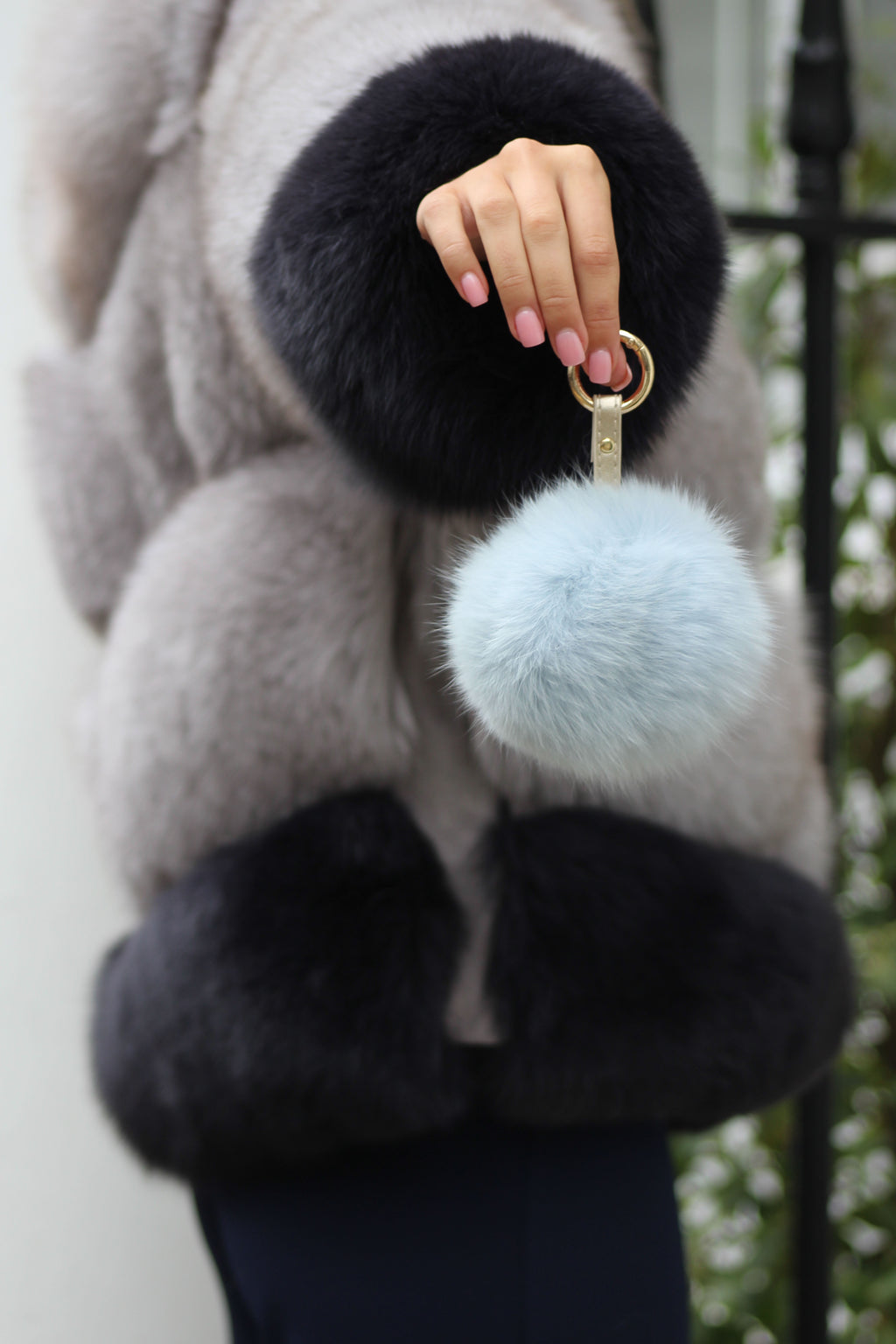Baby Blue Fox Fur Keyring