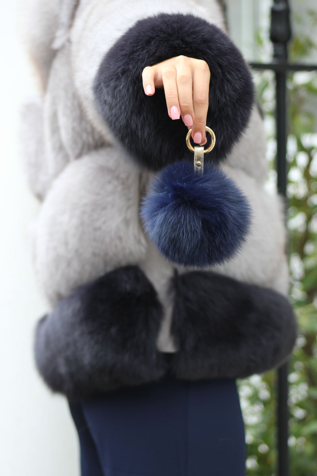 Navy Blue Fox Fur Keyring