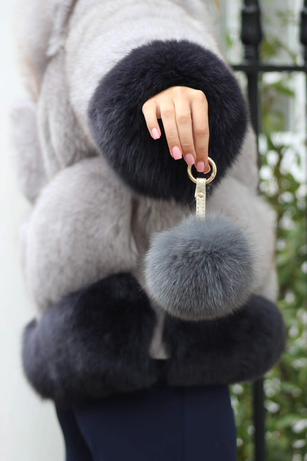 Dark Grey Fox Fur Keyring