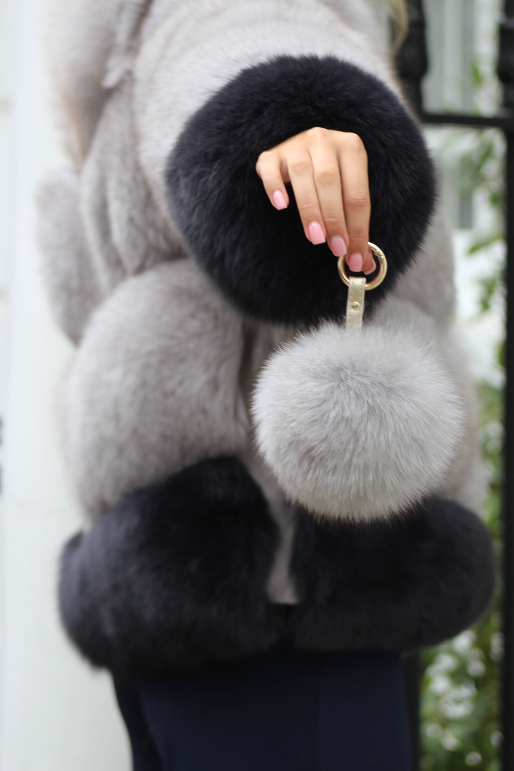 Light Grey Fox Fur Keyring