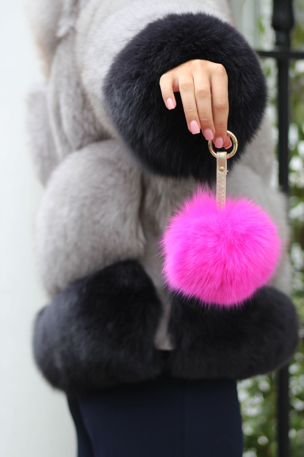 Hot Pink Fox Fur Keyring