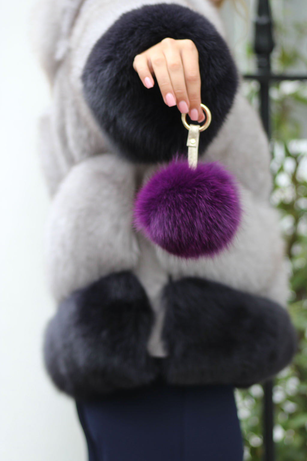 Purple Fox Fur Keyring