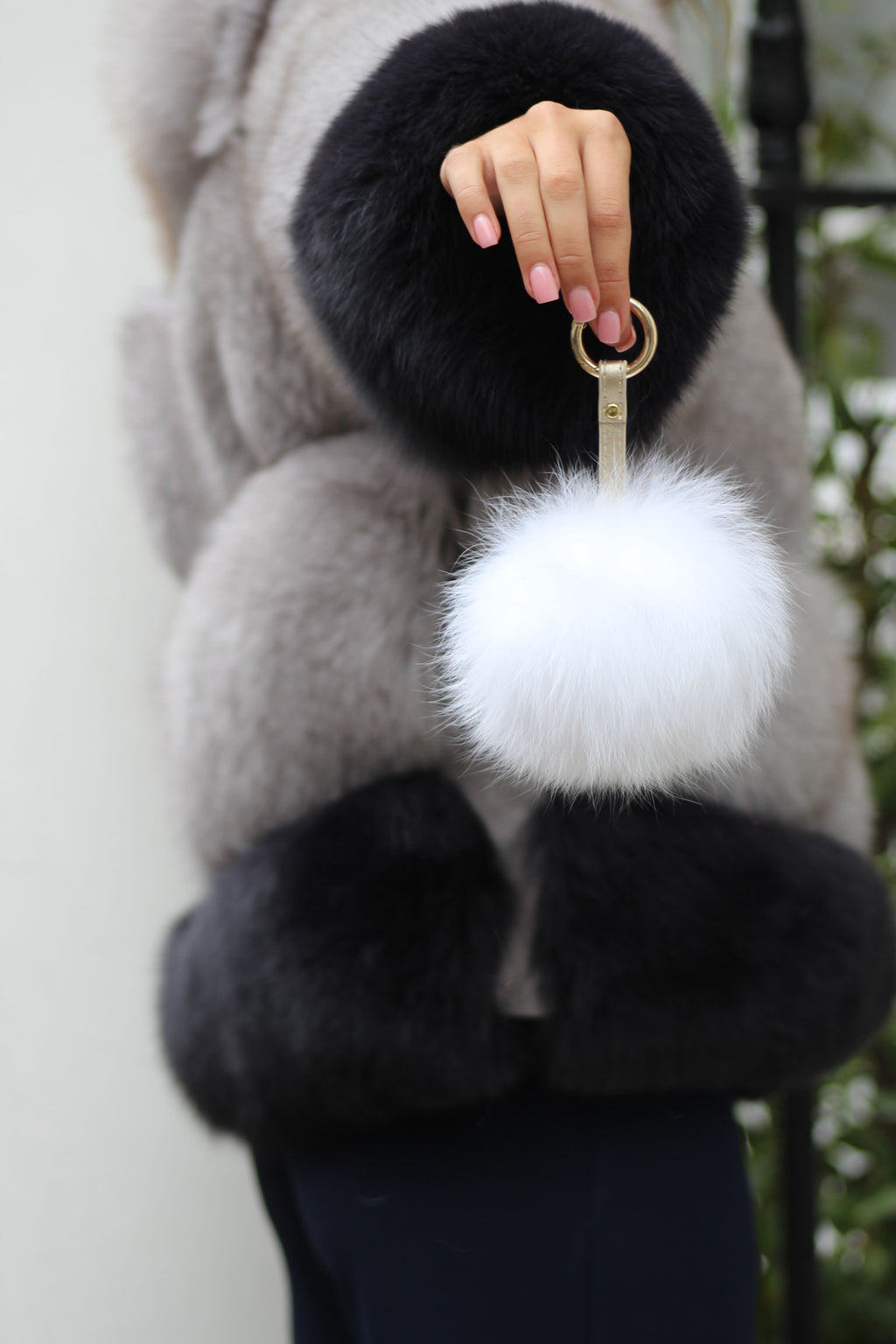 White Fox Fur Keyring