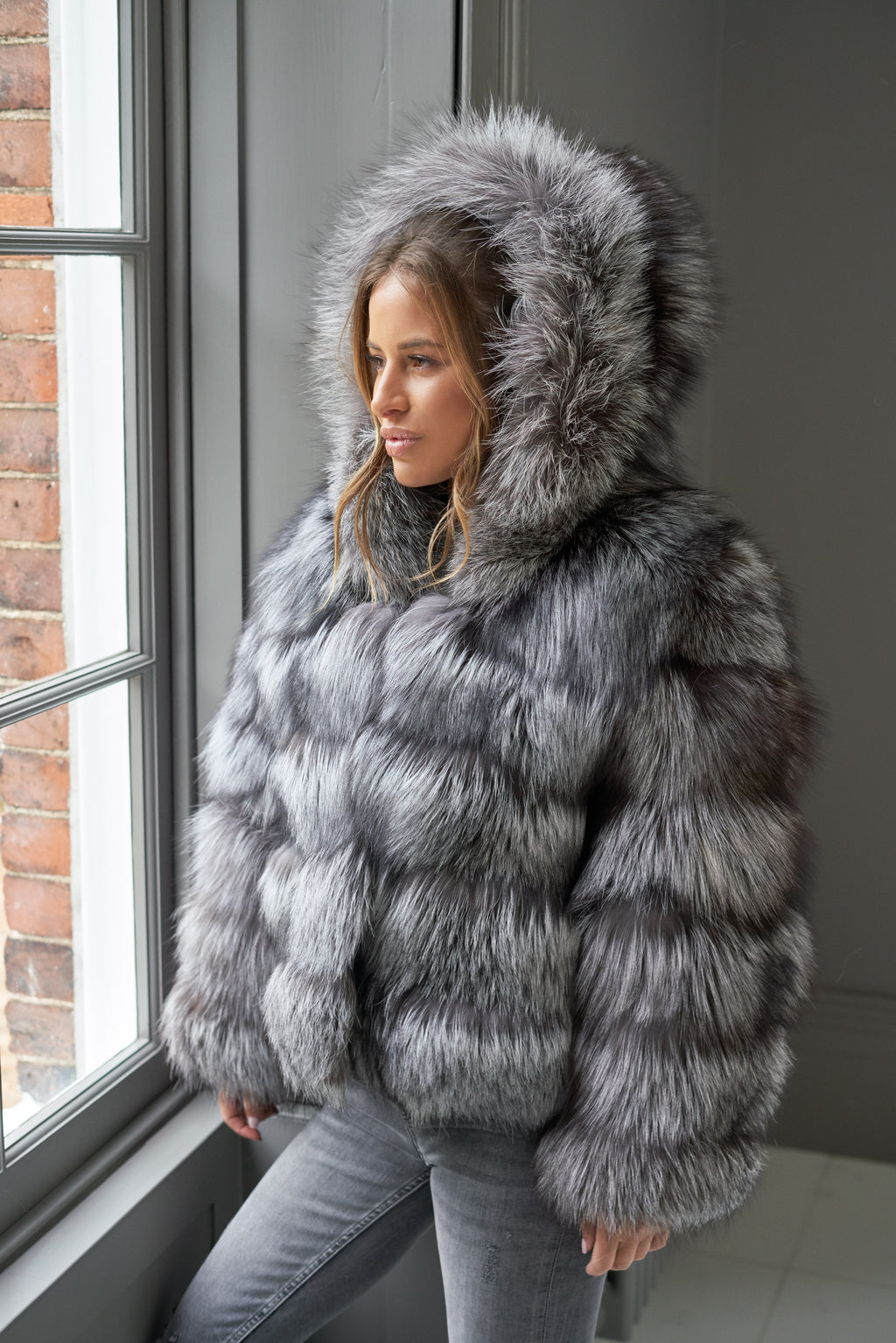 Silver Hooded Five Row Fox Fur Coat