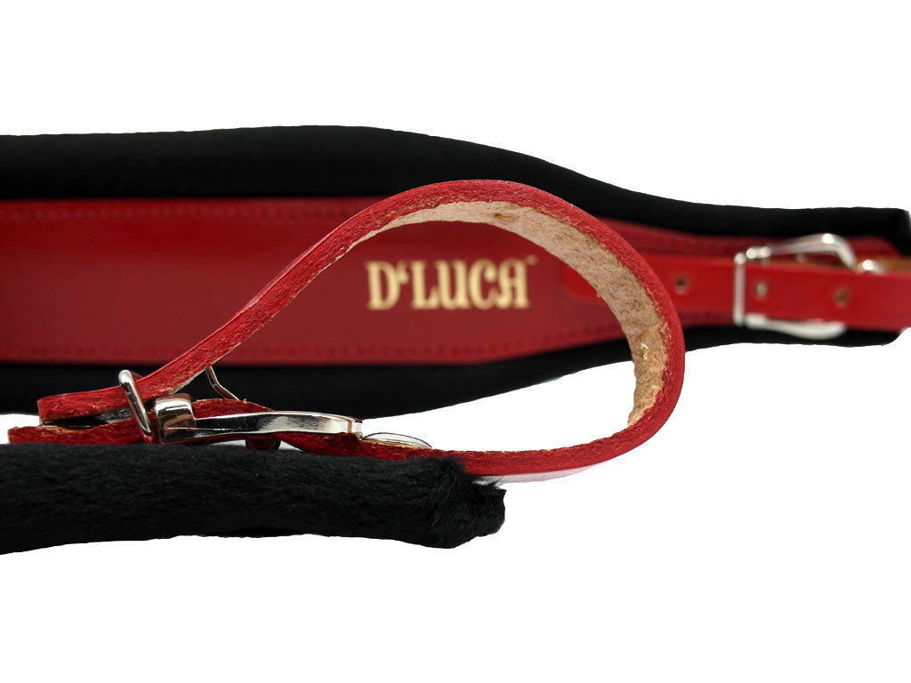 D'Luca Pro SM Series Genuine Leather Accordion Straps Red/Black