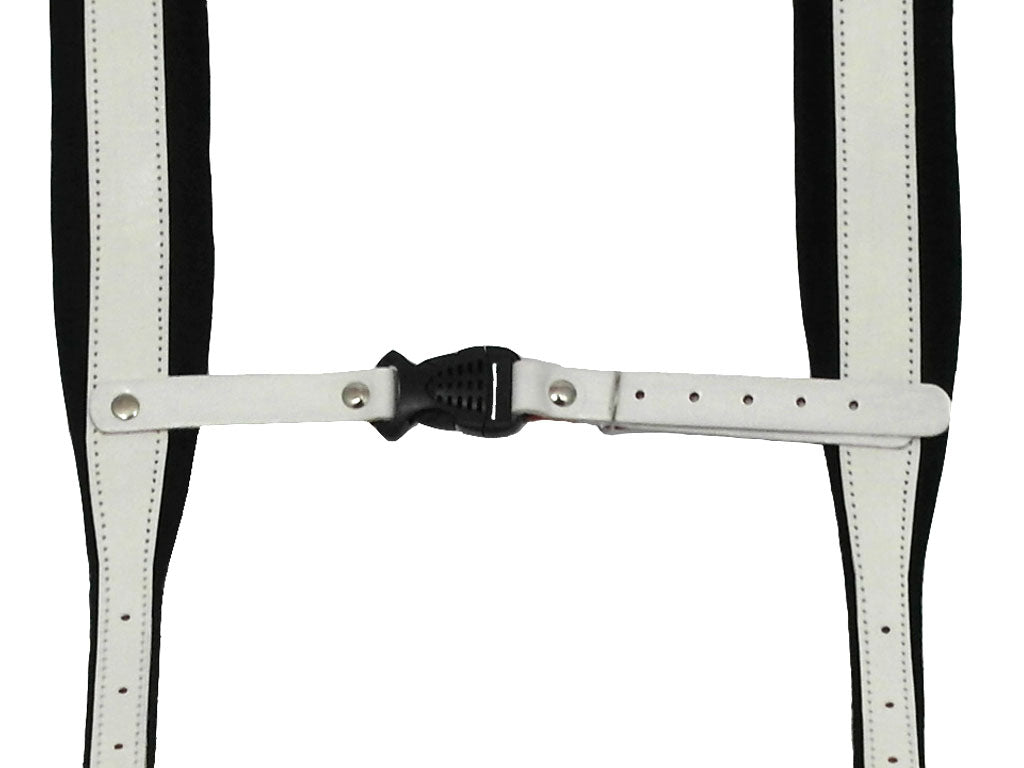 D'Luca Pro SM Series Genuine Leather Accordion Straps White/Black