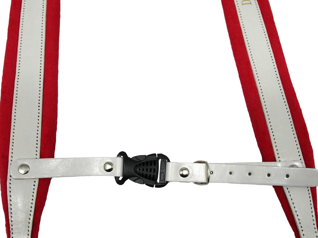 D'Luca Pro SM Series Genuine Leather Accordion Straps White/Red