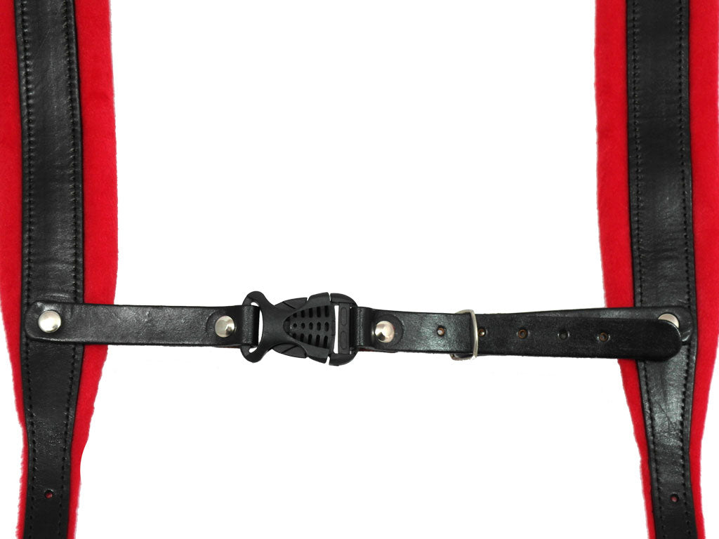 D'Luca Pro SM Series Genuine Leather Accordion Straps Black/Red