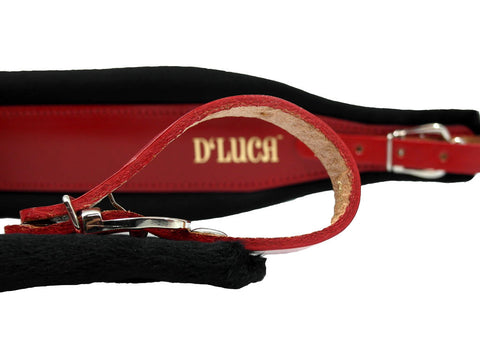 D'Luca Pro SG Series Genuine Leather Accordion Straps Red/Black