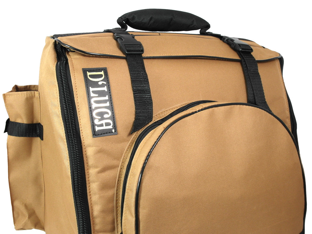 D'Luca Pro Series Accordion Gig Bag for 96/120 Bass Piano Accordions, Brown