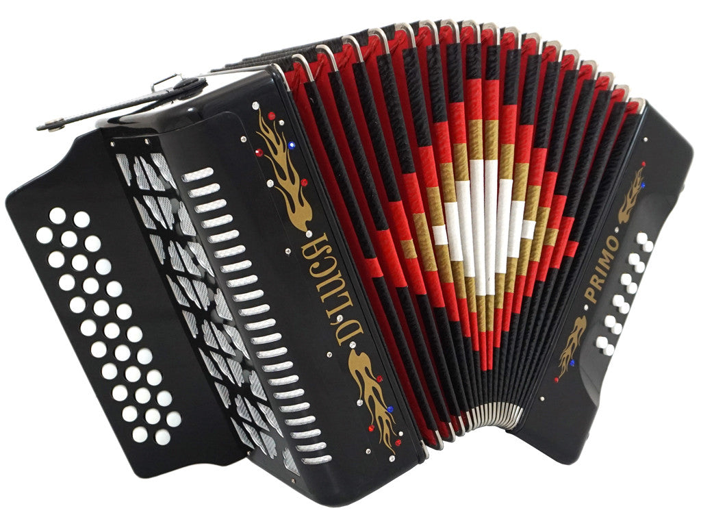 D'Luca Primo Button Accordion 31 Keys 12 Bass on GCF Key with Case and Straps, Black