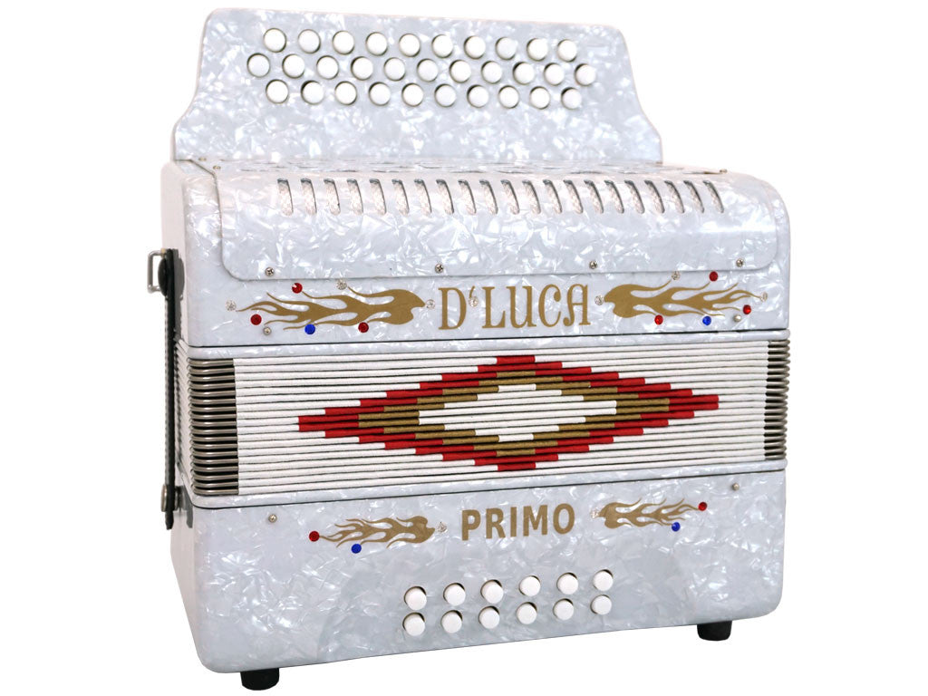 D'Luca Primo Button Accordion 31 Keys 12 Bass on GCF Key with Case and Straps, White