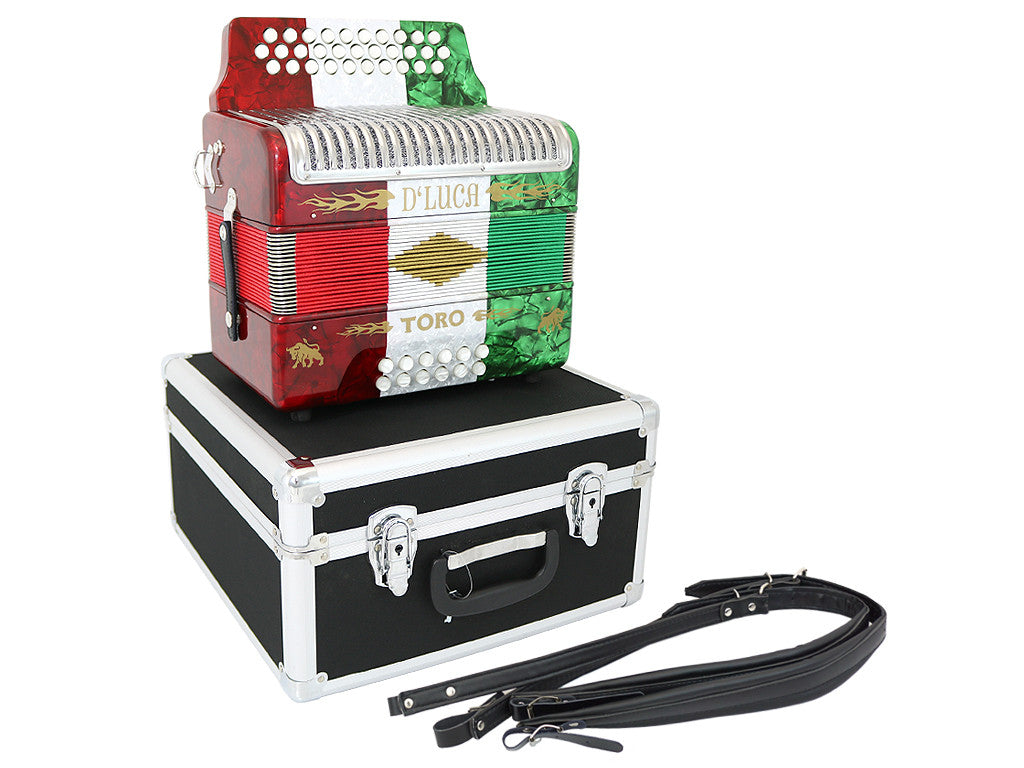 D'Luca Toro Button Accordion 31 Keys 12 Bass on GCF Key with Case and Straps, Red, White, Green