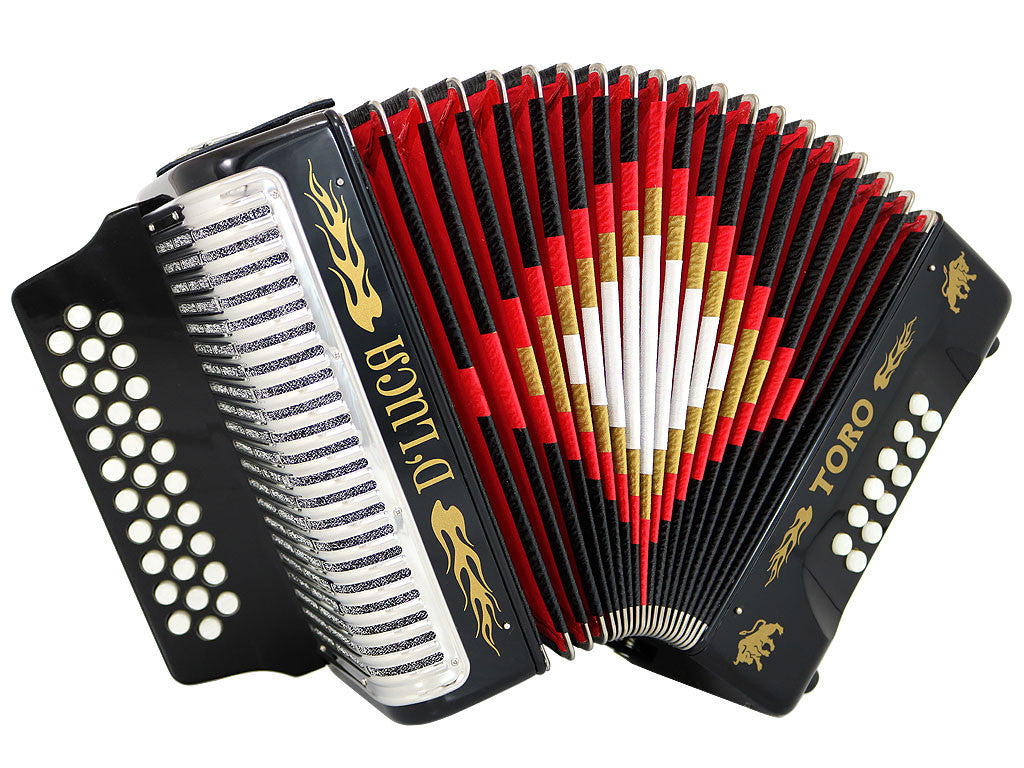 D'Luca Toro Button Accordion 31 Keys 12 Bass on GCF Key with Case and Straps, Black