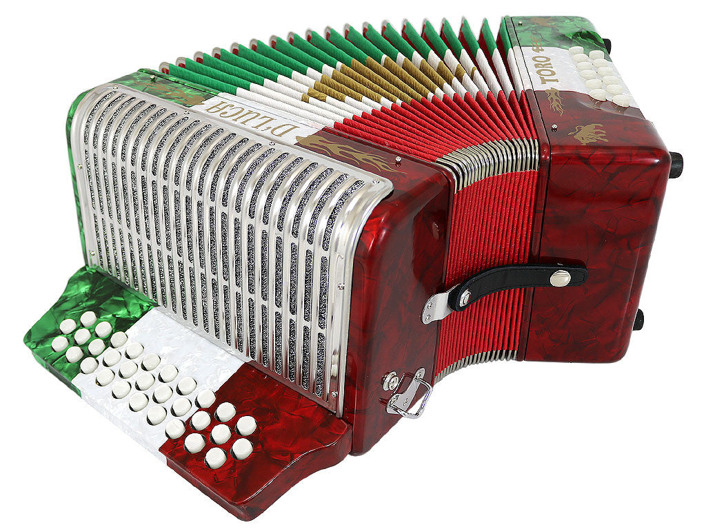D'Luca Toro Button Accordion 31 Keys 12 Bass on FBE Key with Case and Straps, Red, White, Green