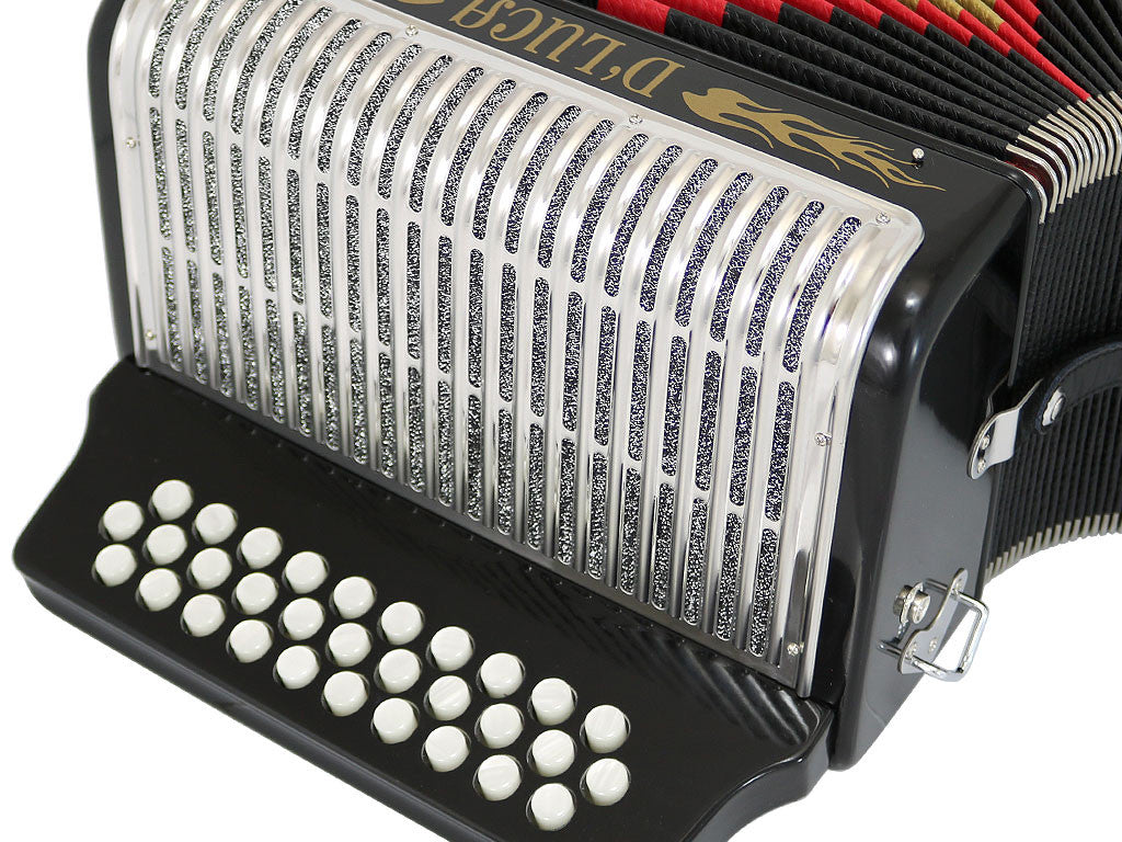 D'Luca Toro Button Accordion 31 Keys 12 Bass on FBE Key with Case and Straps, Black