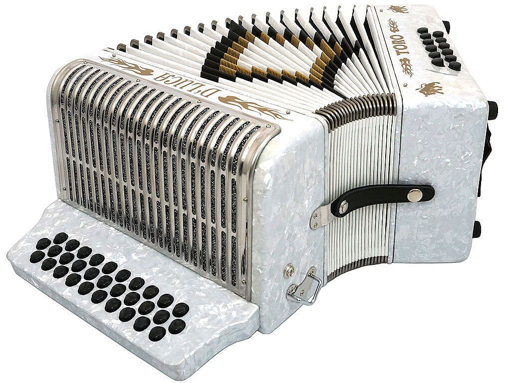 D'Luca Toro Button Accordion 31 Keys 12 Bass on FBE Key with Case and Straps, White