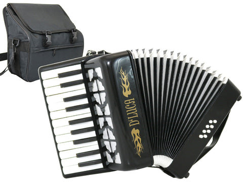 D'Luca Grand Junior Piano Accordion 22 Keys 8 Bass with Gig Bag, Black