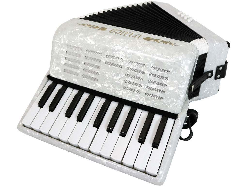 D'Luca Grand Junior Piano Accordion 22 Keys 8 Bass with Gig Bag, White
