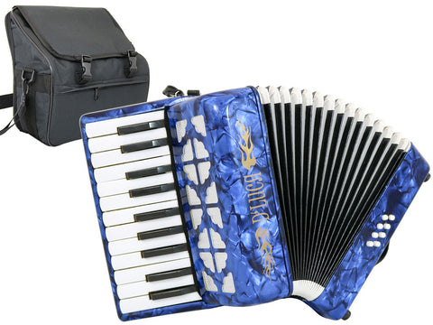 D'Luca Grand Junior Piano Accordion 22 Keys 8 Bass with Gig Bag, Blue