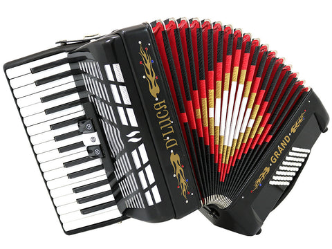 Dluca Grand Junior Piano Accordion 22 Keys 8 Bass With Gig Bag Red