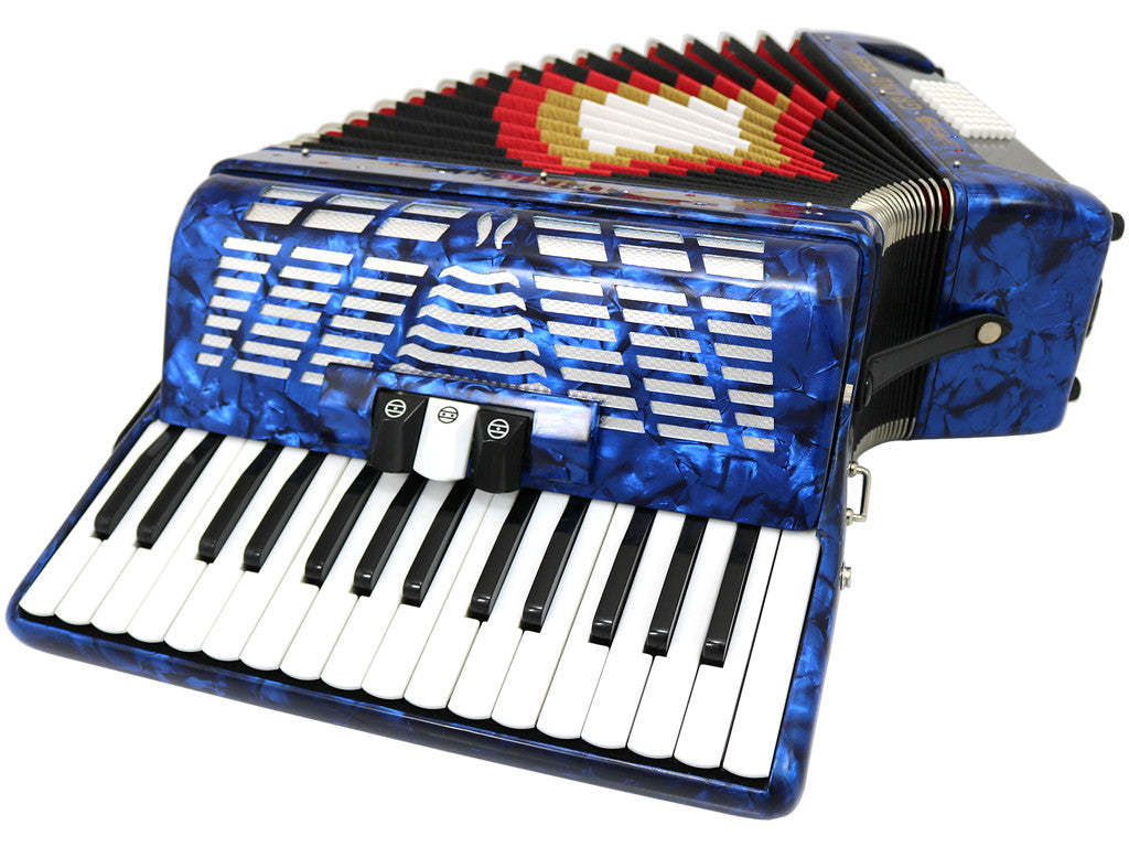 D'Luca Grand Piano Accordion 3 Switches 30 Keys 48 Bass with Case and Straps, Blue